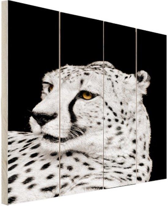 Luipaard zwart-wit  Hout 40x60 cm - Foto print op Hout (Wanddecoratie)