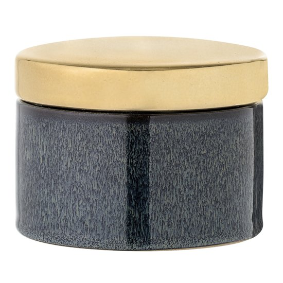 Bloomingville - Voorraadpot met Deksel - Stoneware - Blauw/Goud - D11xH8 cm
