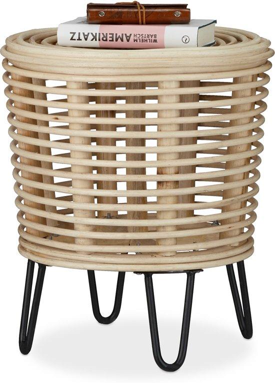 relaxdays kruk rotan - ronde zitkruk - design voetenbank - gevlochten stoel - 4 poten natuur