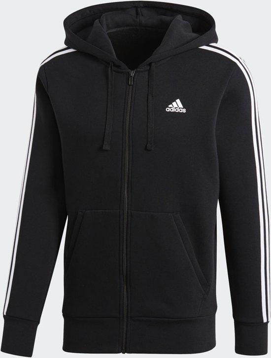 adidas Essentials 3Stripes FZ B Sportshirt Heren - Black/White