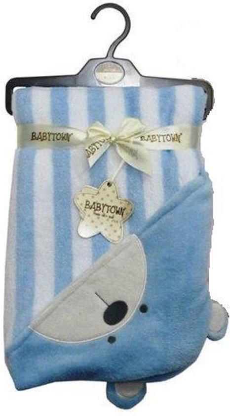 ef8fd3100a3 Blauw met wit gestreepte baby badcape met berenkop en oortjes - omslagdeken  - badcape met muts