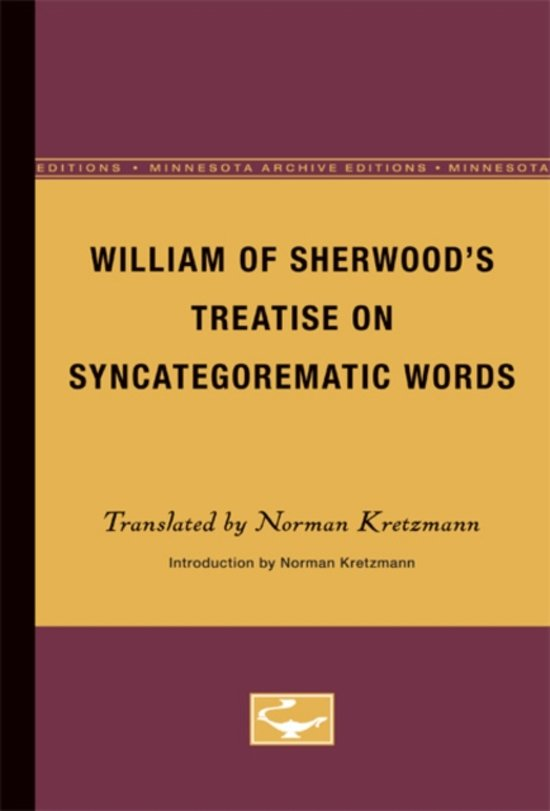 William of Sherwood's Treatise on Syncategorematic Words