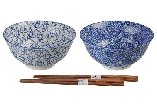 Tokyo Design Studio Nippon Blue Kommen Set Ø 15 cm incl. Chopsticks - 4-delig -2-persoons
