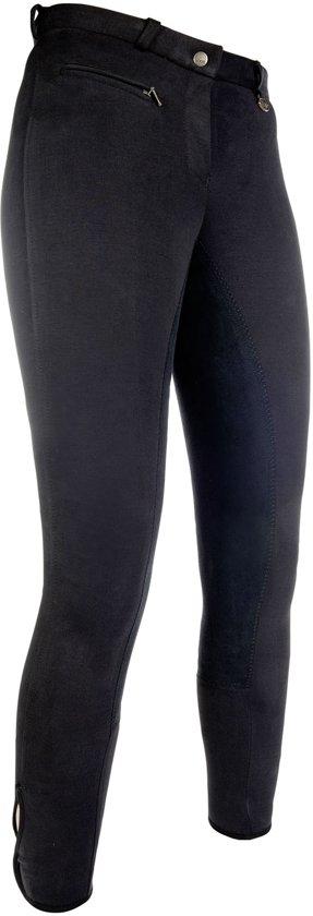 Rijbroek Stretchy 3/4 kunstlederen zitvlak zwart/zwart 50