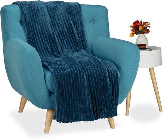 Grand Foulard Donkerblauw.Relaxdays Knuffeldeken Groot Woondeken Fleece Deken Grand Foulard Plaid 150x200 Donkerblauwe