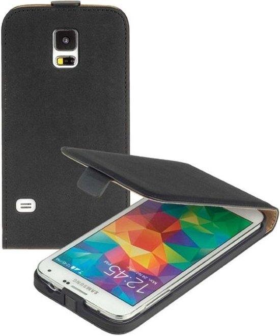 MP Case Zwart Eco Leer flip case Samsung Galaxy S5 Neo flip cover kalp cover hoesje voor de Samsung Galaxy S5 Neo in Borssele