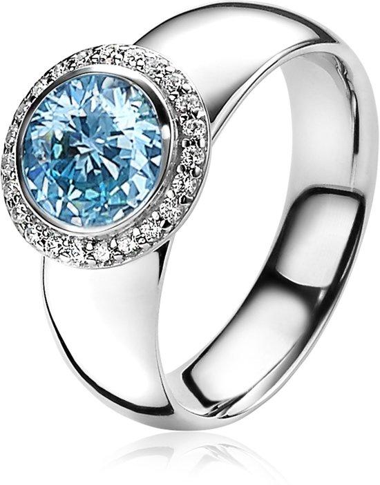 ZINZI zilveren ring rond blauw ZIR1244B