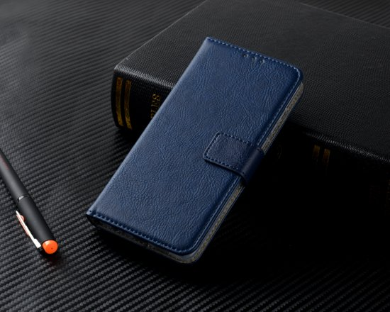 H.K. Luxe boekhoesje/bookcase donkerblauw geschikt voor Samsung Galaxy S10 PLUS + Glasfolie