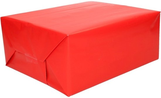 Kadopapier helder rood - 200 x 70 cm - cadeaupapier / inpakpapier/kaftpapier