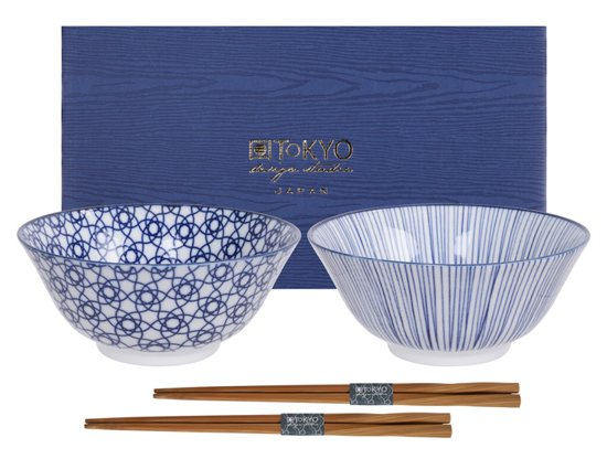 Tokyo Design Studio Nippon Blue Tayo Kommen Set van 2 - Ã 17 cm - met chopsticks
