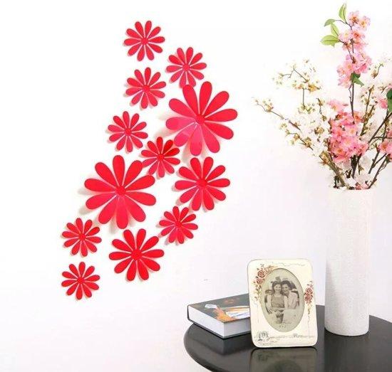 bol.com   3D Bloemen Rood (12 Stuks) - Muursticker / Muurdecoratie ...