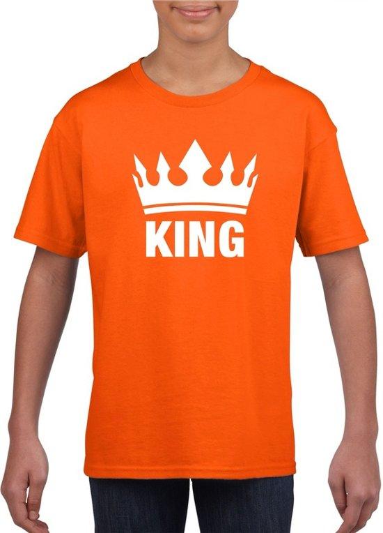 Oranje Koningsdag King shirt met kroon jongens M (134-140)
