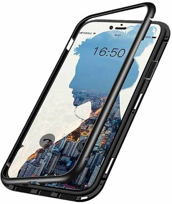 Magnetic Case iPhone 6 / 6S Hoesje - Aluminium Metalen Bumper - Adsorption Case - High-Impact 9H Glas Cover