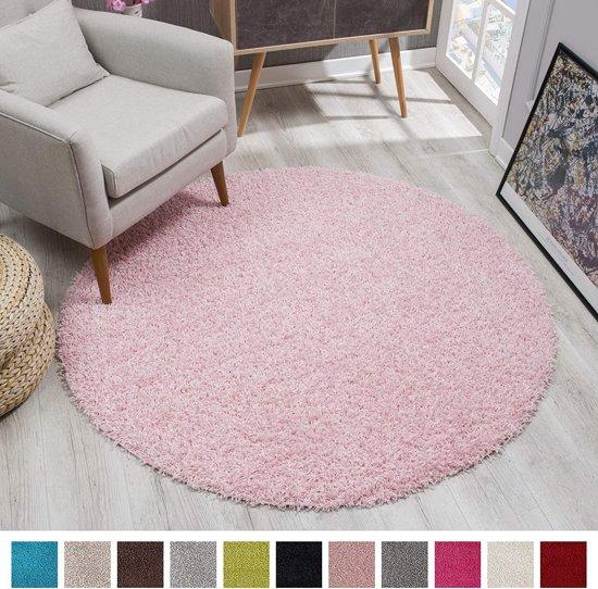 Shaggy Hoogpolig Rond vloerkleed Licht Roze Effen Tapijt Carpet - 120 x 120 cm