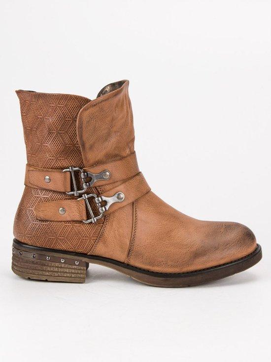00e029d1071 bol.com | Dames Enkellaarsjes - Enkellaarzen - Biker Boots - Cognac ...