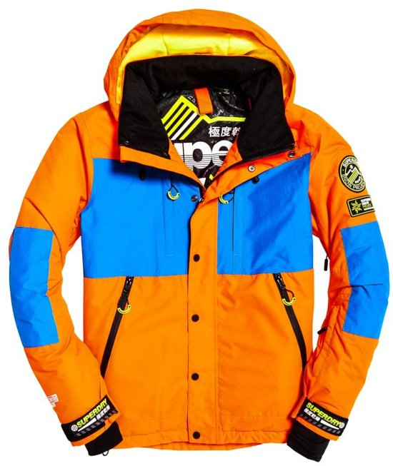 Superdry SD Mountain heren ski jas 2XL Volcanic Orange/Acid Cobalt