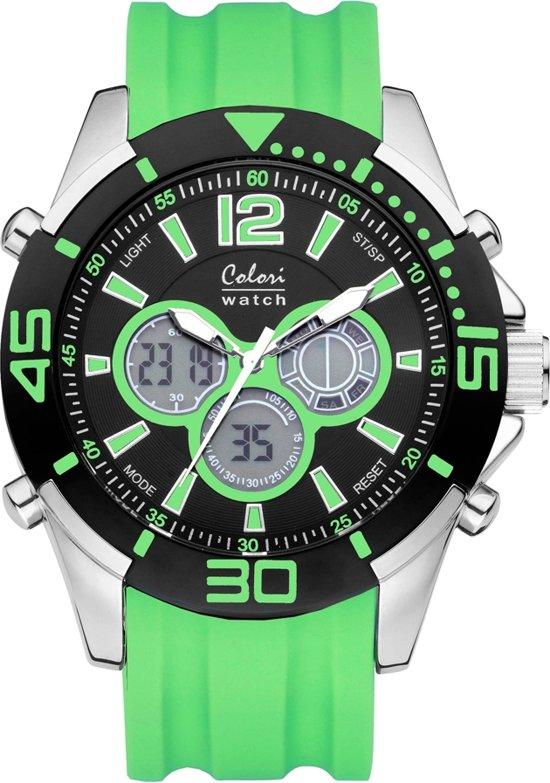 Colori Urban 5-CLD067 - Horloge - siliconen band - groen - 47 mm