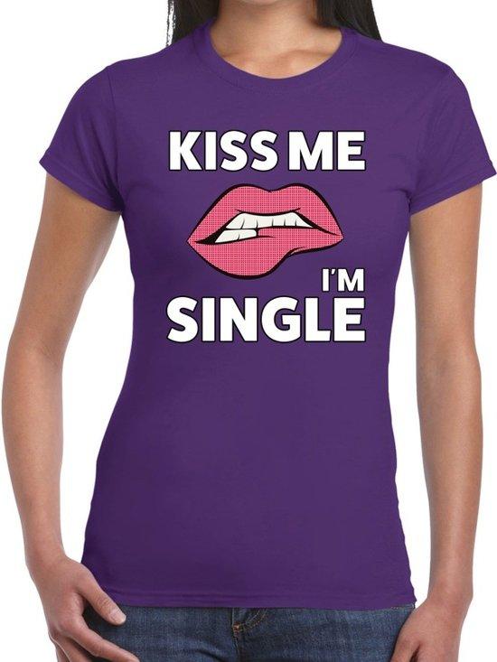 Kiss me i am single t-shirt paars dames M