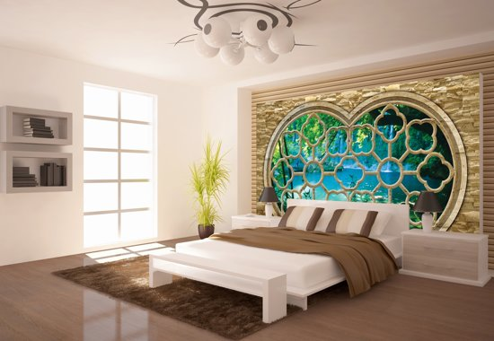 Fotobehang In Slaapkamer : Bol fotobehang natuur slaapkamer blauw cm