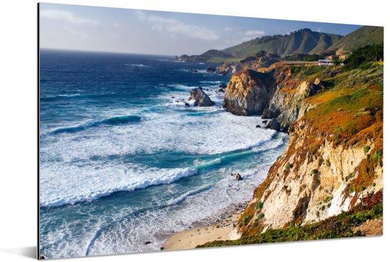 De Stille Oceaan en Santa Lucia Range langs de kust in Big Sur Amerika Aluminium 180x120 cm - Foto print op Aluminium (metaal wanddecoratie) XXL / Groot formaat!