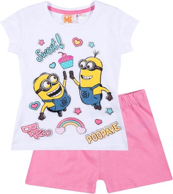 Minions-Pyjama-met-korte-mouw-wit-maat-116
