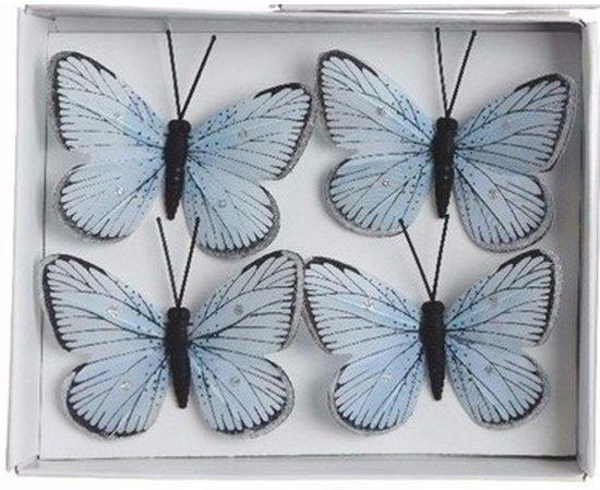 Kerstversiering kerstboomversiering blauw vlinders op clip 4x