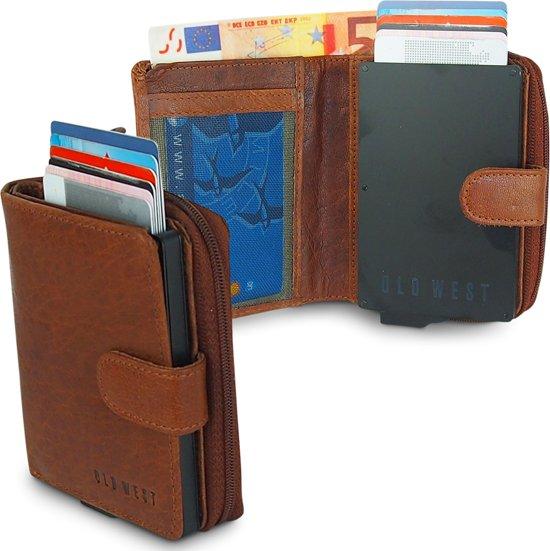 afc876c04b8 Old West Portemonnee - Creditcardhouder - Slim Wallet - RFID - 9 Pasjes -  Leer -