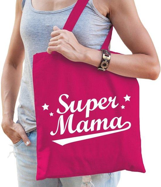 Moeders Super Cadeau Katoen Kado Mama Voor Tas Fuchsia Roze Tasje zUqMVpSG