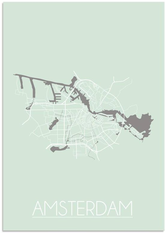 Plattegrond Amsterdam Stadskaart poster DesignClaud - Pastel groen - A4 + fotolijst wit