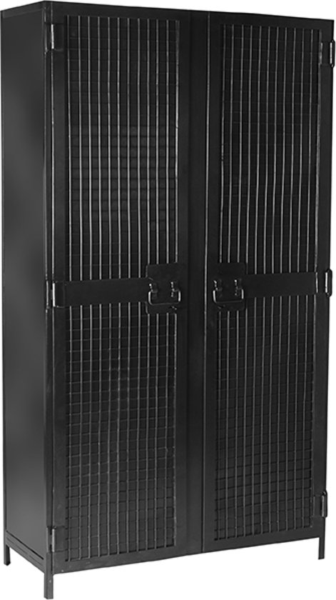 Label51 Hoge Kast Gate Zwart 100 Cm 2 Deurs