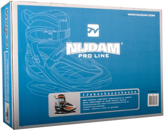 Nijdam 3380 IJshockeyschaats Pro-Line - Semi-Softboot - Zwart - Maat 36