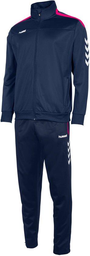 hummel Valencia Polyester Suit Senior Trainingspak - Navy/Magenta - Maat S