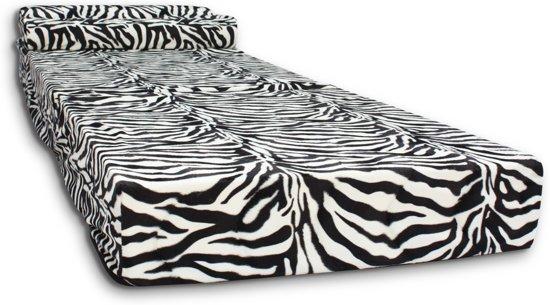 Logeermatras - camping matras - reismatras - opvouwbaar matras - 70 x 200 x 15 met kussen Zebra Design