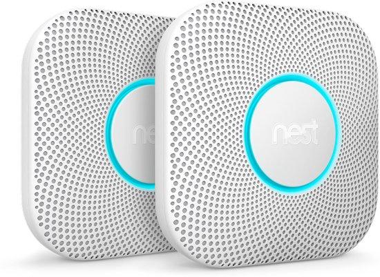 Google Nest Protect - Slimme rook- en koolmonoxidemelder - Bedraad - 230 V-aansluiting - 2 stuks