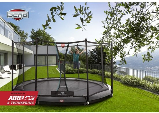 BERG Trampoline Champion Inground 380 grijs + Safetynet Comfort - Model 2018 met Airflow