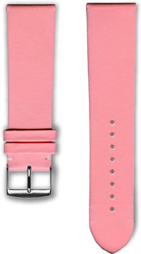 Roze lederen horlogeband (made in France) Frans leder 20 mm