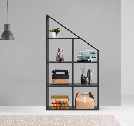Wandkast Roomdivider Design Trebor Voor Schuine Wanden Open 7 Vakken Zwart
