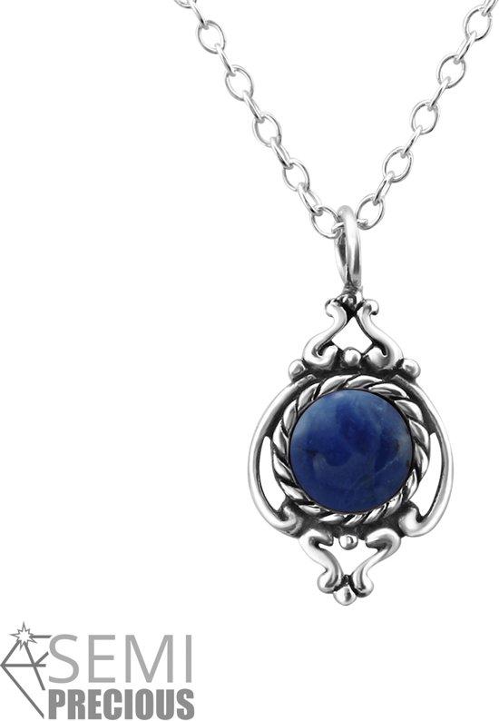 Silver precious stone necklace | Sterling 925 Silver (Echt zilver)