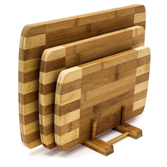 relaxdays Snijplank set - Bamboe hout - 3 snijplanken + houder - Geur- en smaakneutraal.