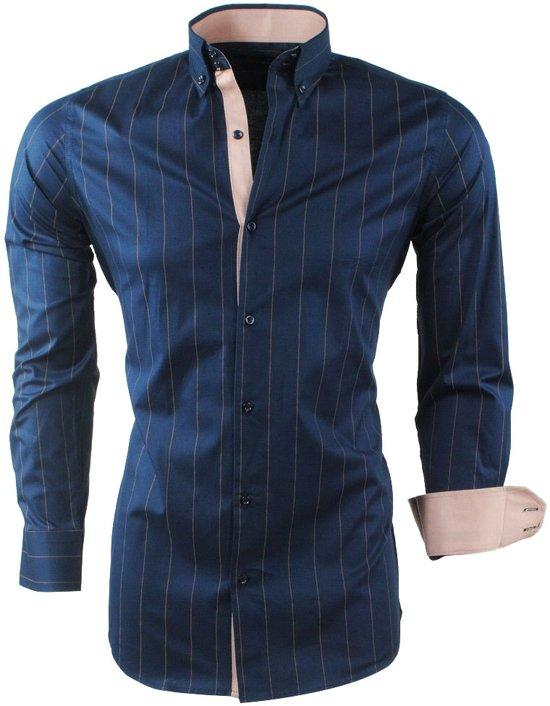 Bruin Overhemd Heren.Bol Com Montazinni Heren Overhemd Stretch Gestreept Navy