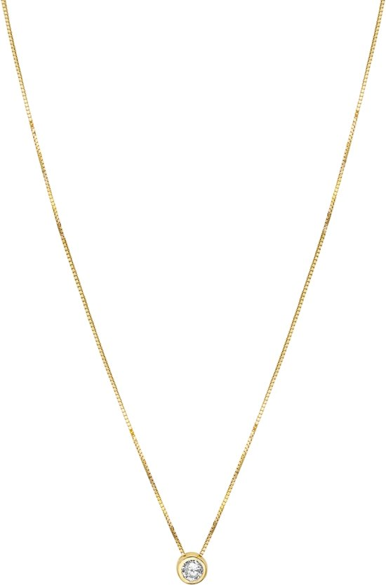 The Jewelry Collection Ketting Zirkonia 0,5 mm 40 + 2 cm - Geelgoud