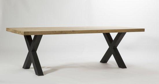 Metalen Onderstel Tafel : Bol eiken tafel cm dik metalen onderstel