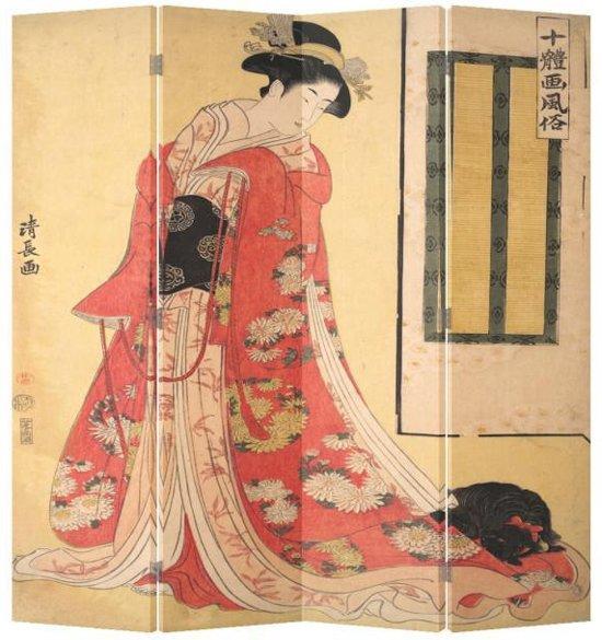Orientique Kamerscherm 4 Panelen Japanse Vrouw in Kimono Canvas Room Divider Scheidingswand