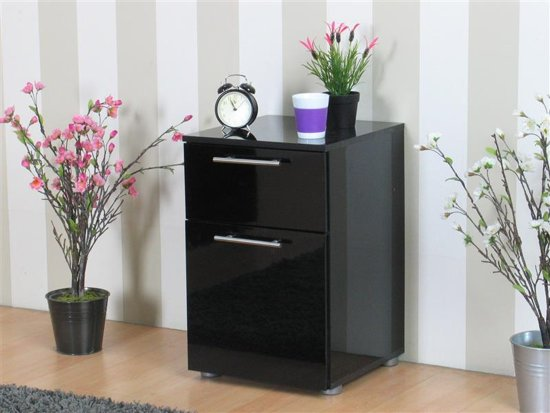 bol.com  Tvilum Nachtkastje hoogglans zwart met lade en deur 40x61x41 ...
