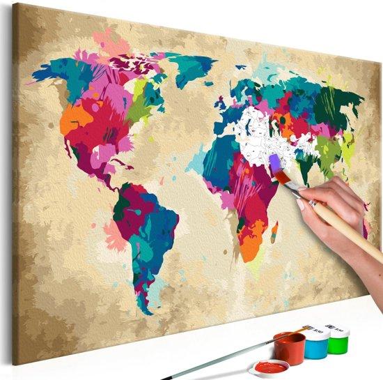 Magnifiek bol.com | Doe-het-zelf op canvas schilderen - Wereldkaart 60x40cm &SS42