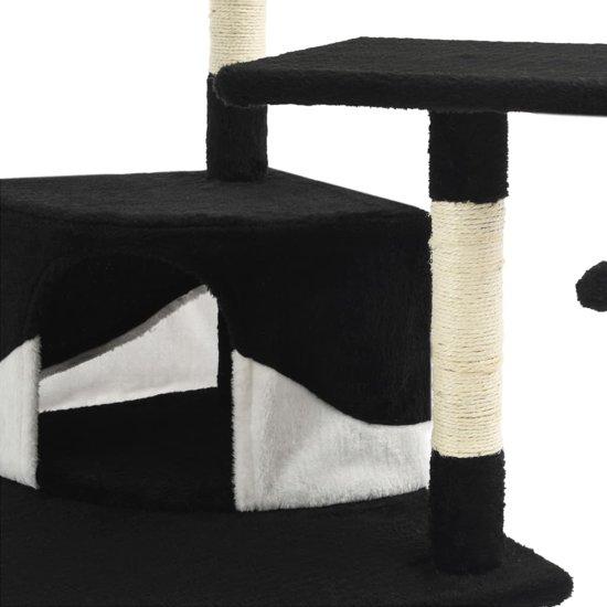 vidaXL Kattenkrabpaal met sisal krabpalen 203 cm zwart en wit