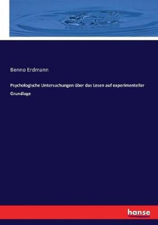 Psychologische Untersuchungen ber das Lesen auf experimenteller Grundlage