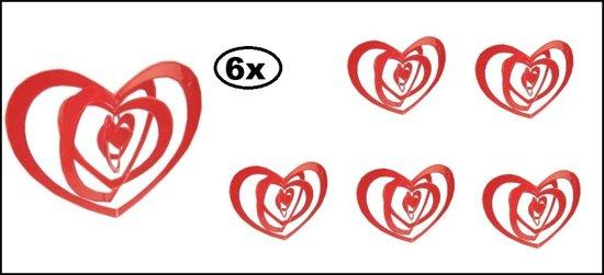 6x Hangmobiel rood harten 43cm