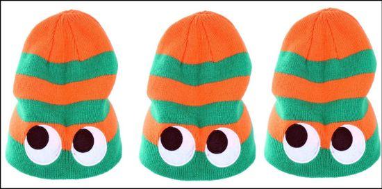3x Gebreide muts streep oranje groen met ogen