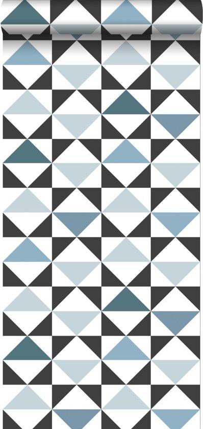 ESTAhome behang grafische driehoeken wit, zwart, vintage blauw en